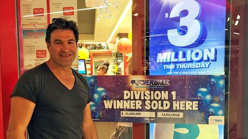 The winning ticket was purchased from Scole Lotto & News in the Melbourne suburb of Brunswick. Pictured: Newsagency owner Sam Misiano. Picture: 9NEWS