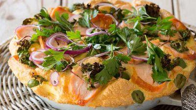 Hot smoked salmon soufflé omelette