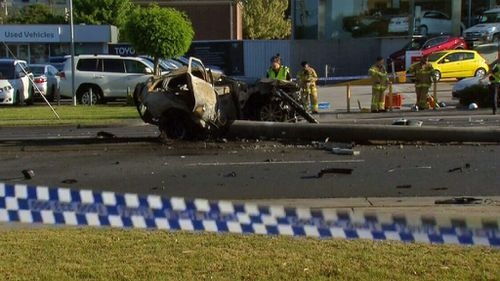 Police believe the Mercedes driver was a male (9NEWS)