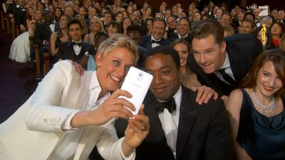 Benedict Cumberbatch dropping in on Ellen and '12 Years a Slave' actor Chiwetel Ejiofor (supplied).