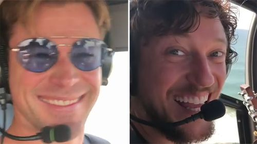 In a video posted to his Instagram account, Hemsworth and the excited traveller fly over the ocean on their way to the popular location.