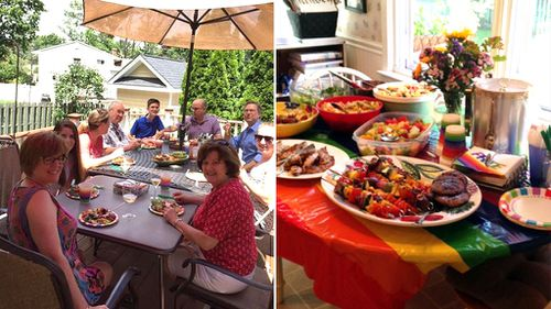 Kinsey's family and a selection of rainbow-coloured dishes. (Twitter/@notkinz)