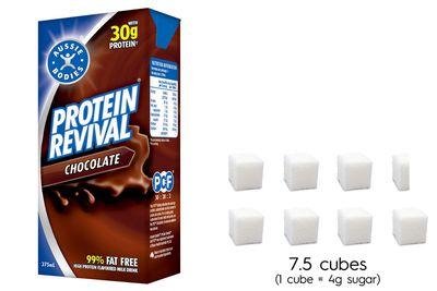 Aussie Bodies Protein Revival Chocolate: 30.1g sugar per 375ml carton