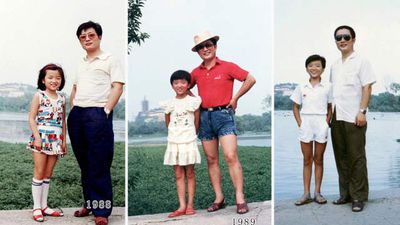 It's 1988 and Hua and daughter are looking groovy. Sunnies, hats and funky clothes are the styles through to 1990.