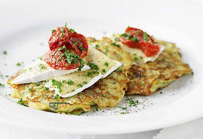 """<a href="""" /recipes/izucchini/8336930/zucchini-pancakes-with-double-brie """" target=""""_top"""">Zucchini pancakes with double brie<br> </a>"""