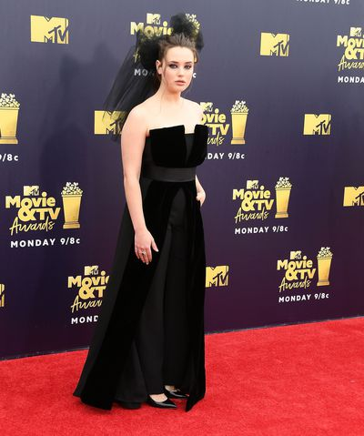 <em>13 Reasons Why</em> star Katherine Langford wearing custom Giorgio Armani at the 2018 Movie and TV Awards
