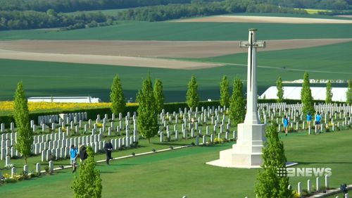 Corporal Albert Davy, Sappers Arthur Johnson and Charles Barrett are the only Diggers in a cemetery of British soldiers and French locals lie. (9NEWS)