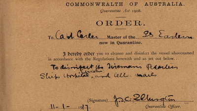 Order to cleanse and disinfect a vessel, 1917.