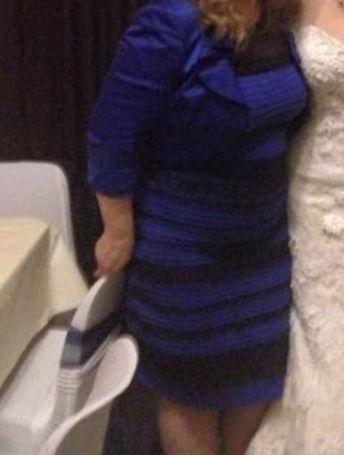 This is allegedly another photo of the controversial dress - this one is more universally accepted as black and blue. (Tumblr)