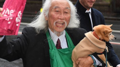 Activist Danny Lim arrives at Downing Centre Court in Sydney,
