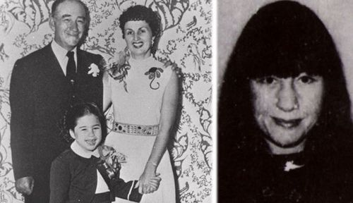 Susan Berman, right, and in her childhood with her mafia boss father  David Berman and mother Gladys Berman. (AP).