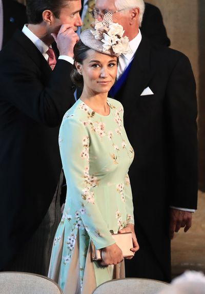 Pippa Middleton Matthews in a dress by British brand The Fold at the wedding of Prince Harry and Meghan Markle in Windsor, May 2018