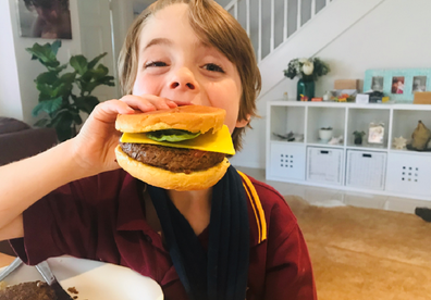 Her son Ernie happily tried a vegan burger.