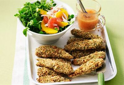 Crumbed chicken with citrus salad