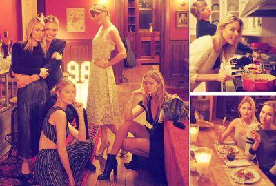 Taylor Swift at home with Karlie Kloss, Gigi Hadid, Martha Hunt and Ashley Avignone.