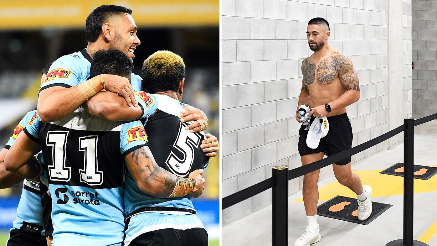 Sharks celebrate a try, Shaun Johnson