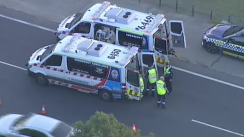 One person has been taken to hospital following the crash. Picture: 9NEWS