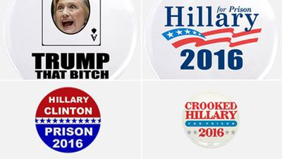A selection of unofficial anti-Hillary badges available online. (Supplied)