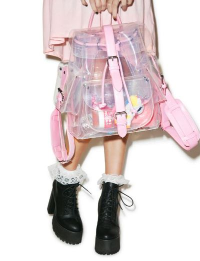 """<a href=""""https://www.dollskill.com/teenage-dream-backpack.html"""" target=""""_blank"""">Teenage Dream Backpack, $50.21.</a>Why? The joy of going straight to your keys, wallet or baby wipes because of this transparent bag is truly exhilarating."""