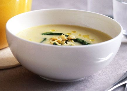 Potato soup with baby cavolo nero and lemon oil