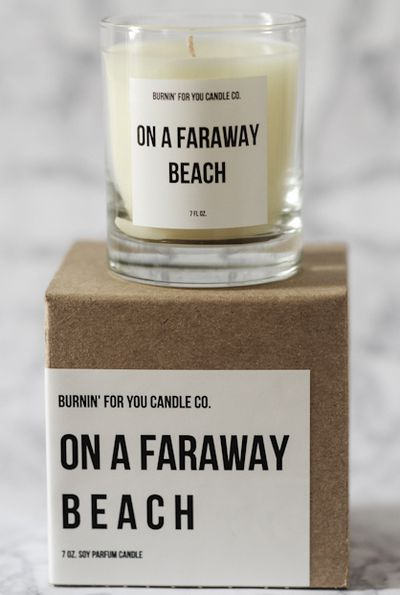 """<a href=""""http://shop-bulletin.com/products/on-a-faraway-beach-candle"""" target=""""_blank"""">Candle, $45, Burnin' for You Candle Co from Bulletin</a>"""