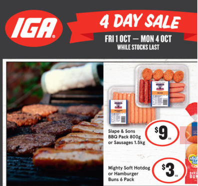 There are some great food items on sale at IGA's four day sale.