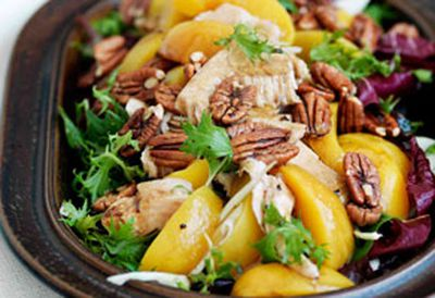 Smoked turkey, peach and fennel salad