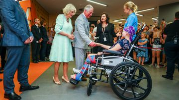 Charles and Camilla treated to song by young hospital patient
