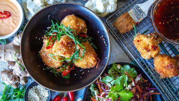 The Cameron-Bradley's Vegan Cauliflower 'Wings' with Sriracha Aioli and Slaw