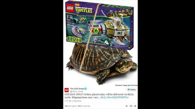 UNITED STATES: Lego introduced its new turtle delivery system, but warned customers that 'shipping times may vary'. (supplied)