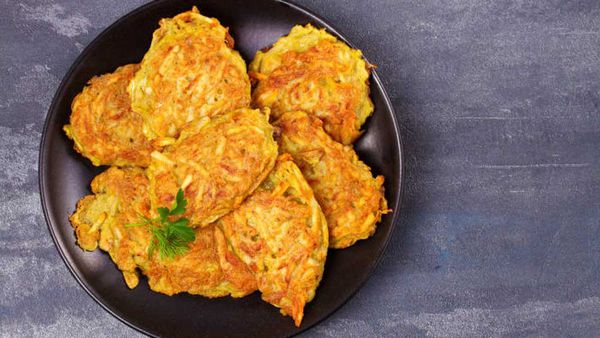 F45 Tumeric sweet potato fritters lunch