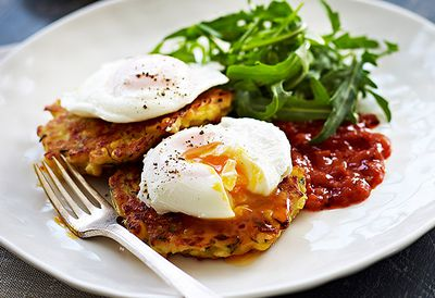 "Recipe: <a href=""http://kitchen.nine.com.au/2016/05/05/13/10/cheesy-corn-and-zucchini-fritters-poached-eggs-and-tomato-relish"" target=""_top"">Corn fritters with poached eggs</a>"