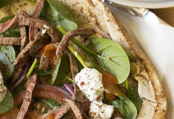 Beef doner kebabs with hummus and garlic mint yoghurt