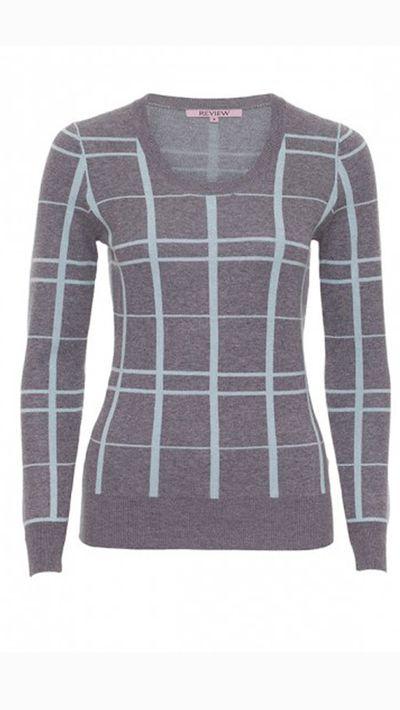 """<a _tmplitem=""""13"""" href=""""http://www.review-australia.com/shop/knitwear/nessa-jumper-grey-mint.html""""> Nessa Check Jumper, $139.99, Review</a>"""