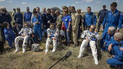 Three-man crew lands in Kazakhstan after six-month mission aboard the International Space Station
