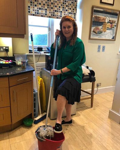 "Much like the rest of us, it seems Sarah Ferguson has snapped with boredom during coronavirus lockdown. The Duchess of York was captured furiously cleaning in a post by her assistant Antonia Marshall, with the caption, ""It's chore time."""
