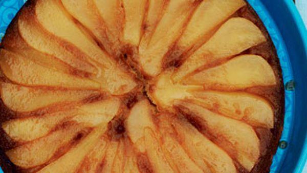 Frypan pear upside-down cake