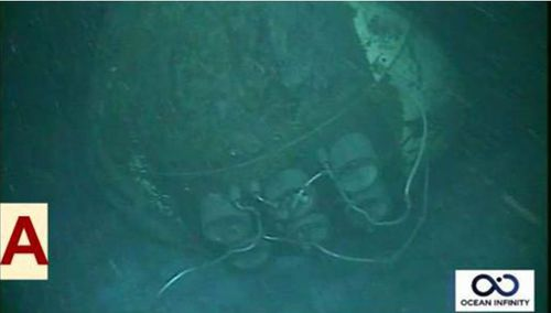 An image of the San Juan taken by the Ocean Infinity submersible in the ocean depths.