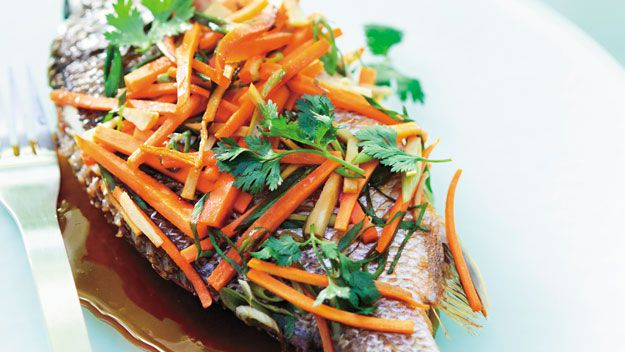 Steamed asian bream