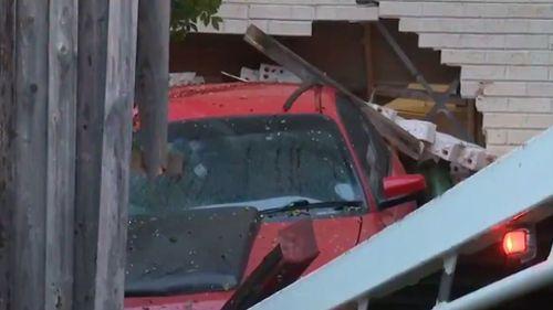 A car crashed into a Windsor home overnight. (9NEWS)