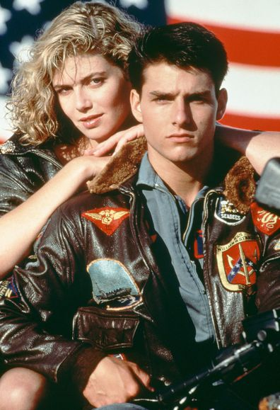 Tom Cruise as Lieutenant Pete 'Maverick' Mitchell, and Kelly McGillis as Charlotte 'Charlie' Blackwood in Top Gun