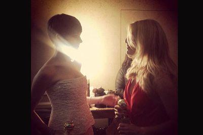 Backstage at the awards.<br/><br/>Image: Golden Globes/Twitter