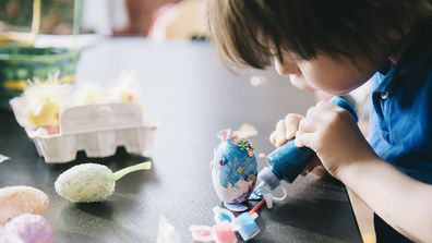 Boy doing Easter crafts
