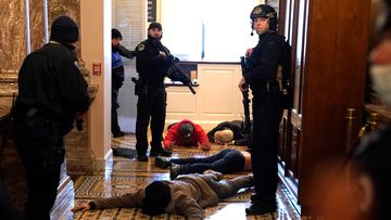 US Capitol Police detain protesters outside of the House Chamber, during a riot which shocked the world.