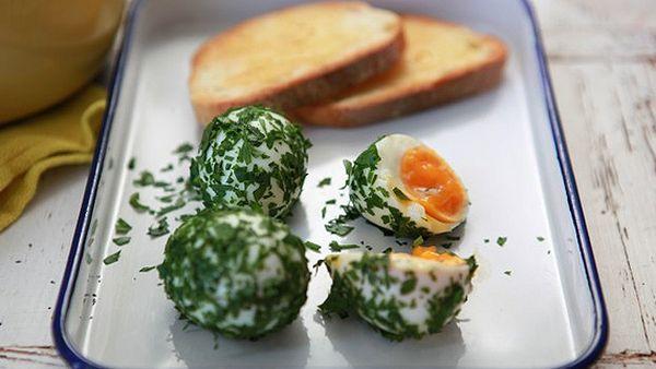 Herbed boiled eggs