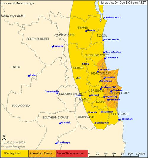 The thunderstorm warning covers a broad region of south-east Queensland. (BOM)