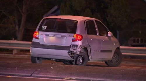 The four people in the Hyundai escaped from the crash uninjured. Picture: 9NEWS