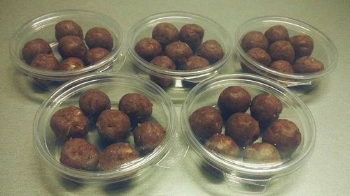 'Date-balls' are a recommended snack made from dates, flour and butter.