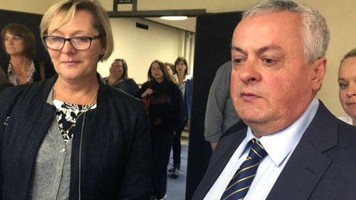 Donna and Peter Lane, parents of Chris Lane, speak to the media outside the courtroom. (AAP)