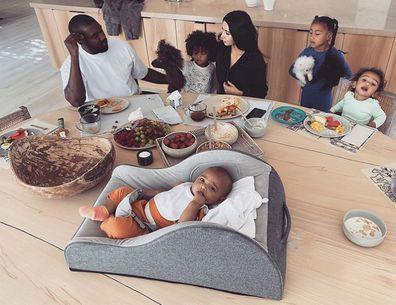 Kim Kardashian, Kanye West, kids, breakfast, North, Saint, Chicago, Psalm